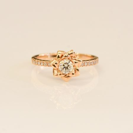 Diamond ring 18K rose  gold diamond engagement ring and band   Certified FGAA-NCJV