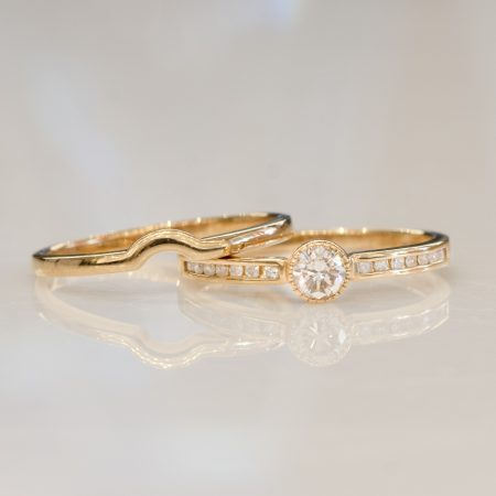 Diamond Solitaire Ring and Wedding Band in 10ct Yellow Gold