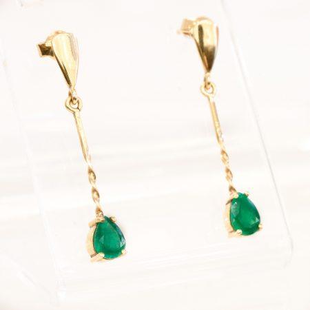 Pear Cut Colombian Emeralds Drop Earrings 18K Gold