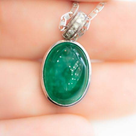 11.46ct Colombian Emerald Pendant Cabochon in 18K Gold