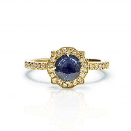 Sapphire and  40 Diamonds  18K Yellow  Gold ring. certified FGAA certificate of autenticity
