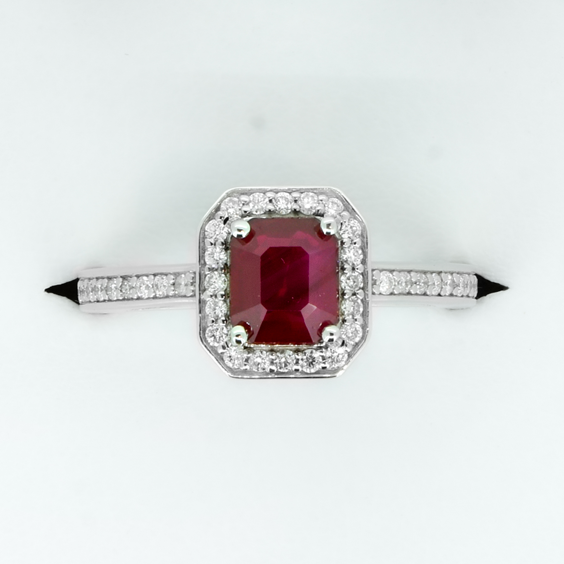 1.55ct Ruby and Diamond Halo Engagement Ring - 1982117-2
