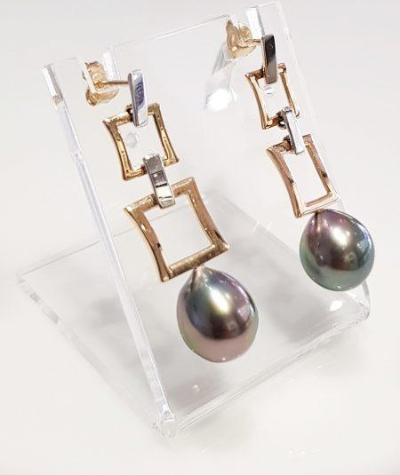 9K Gold and Tahitian Cultured Pearl Drop Earrings