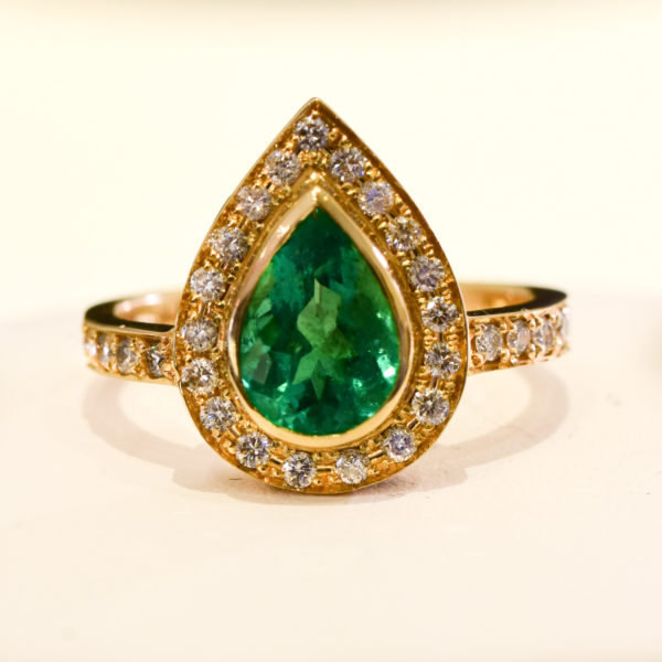 Halo Emerald Ring 18K Gold 1.79ct Colombian Emerald & Diamond Ring