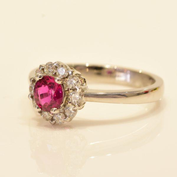 Brand new unheated Ruby diamond ring 18k gold RRV:6500 Ruby ring