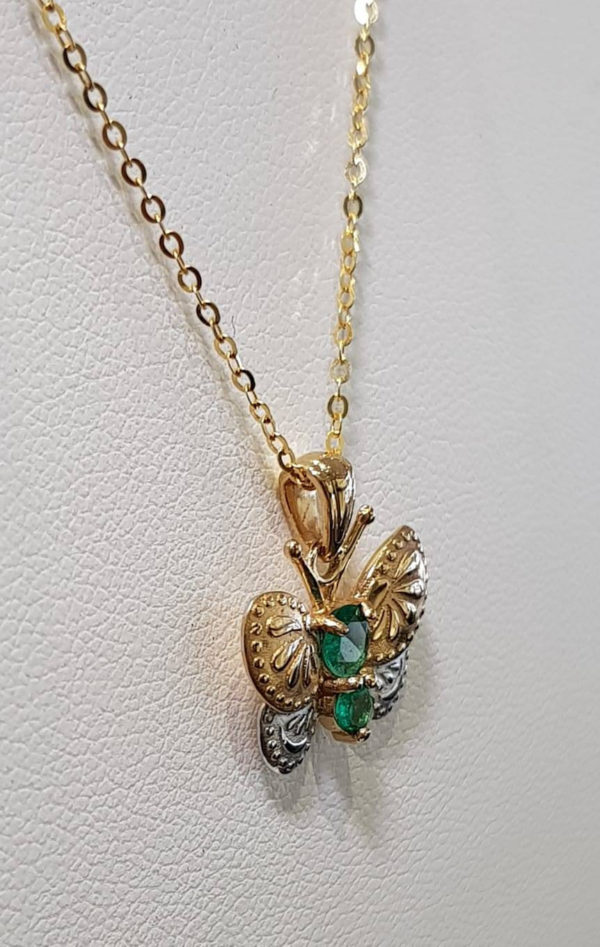 Brand new 18K Gold Butterfly Pendant and Earrings Set with Natural Colombian Emeralds