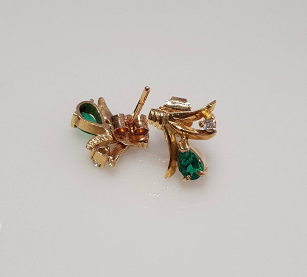18K Yellow Gold Colombian Emerald and Diamond Stud Earrings
