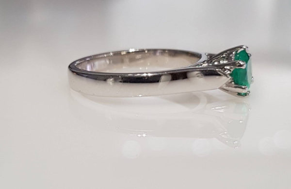 Colombian Emerald Solitaire Ring in 18K White Gold