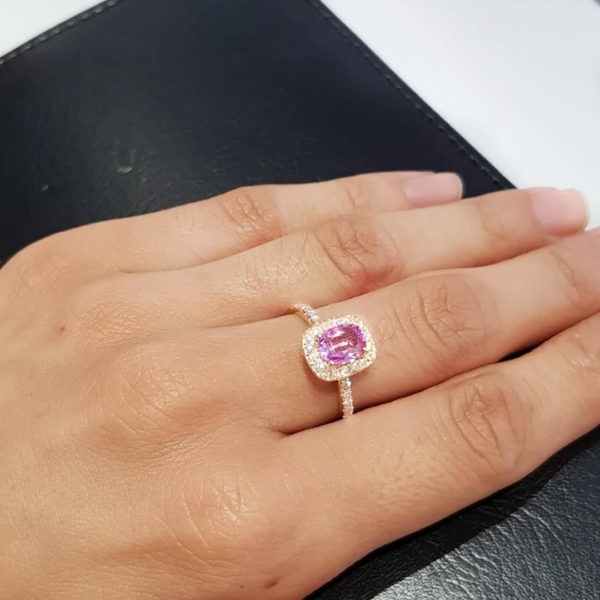1.20ct Pink Sapphire Ring with Diamond Halo in 18K Gold