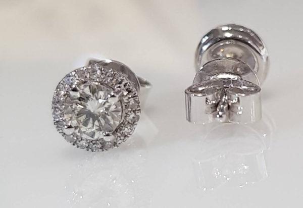 Brand New .50ct Diamonds Cluster Stud Earrings in 18K White Gold - SOLD!