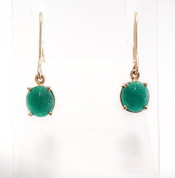 Colombian Emerald Cabochon Dangle Earrings
