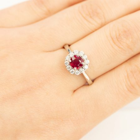 SOLD! Ruby Diamond Halo Ring 18K White Gold Natural Certified Unheated
