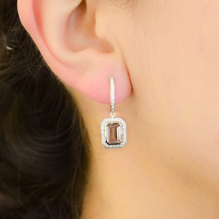 18K White Gold Morganite Diamond Drop Earrings