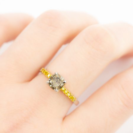 Fancy Dark Green Diamond Ring with Accent Fancy Yellow Diamonds