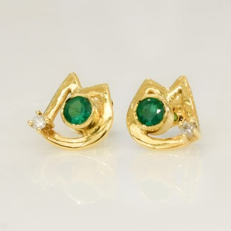 Emerald Diamond Stud Earrings in 18K Yellow Gold
