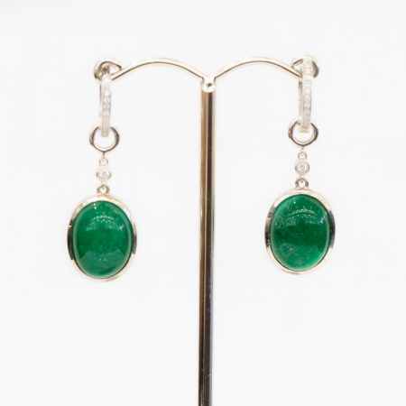 Two Ways Colombian Emerald and Diamonds Hoop Earrings 18K Gold