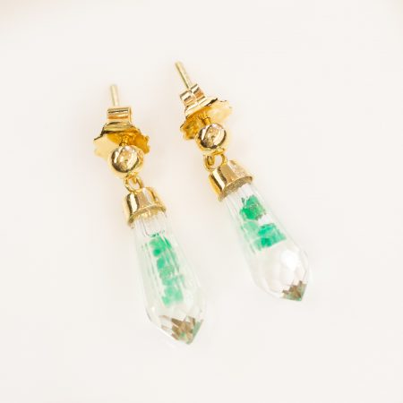 Colombian Emerald Crystal Quartz Dangle Earrings in 18K Gold