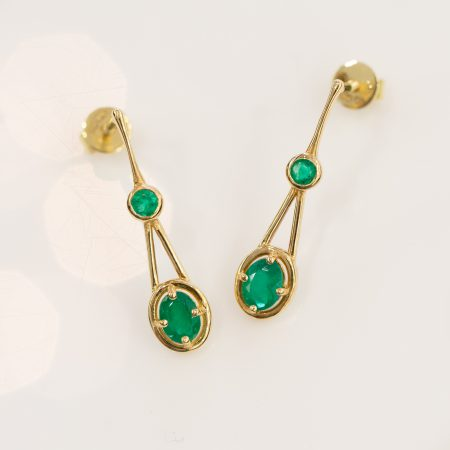 Colombian Emerald Double Drop Earrings in 18K Gold