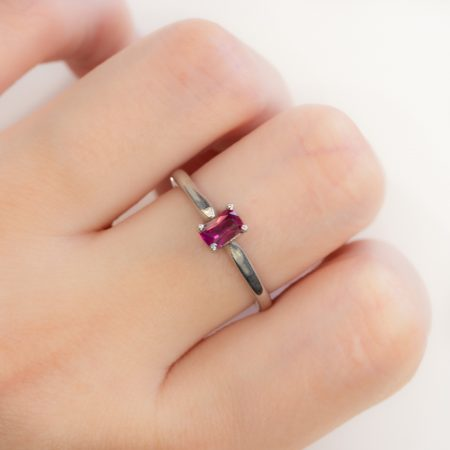 Ruby Solitaire Ring in 9K White Gold