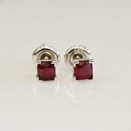 1ct Ruby Stud Earrings 14ct White Gold
