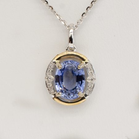 Blue Sapphire Diamond Pendant Necklace 18K Gold