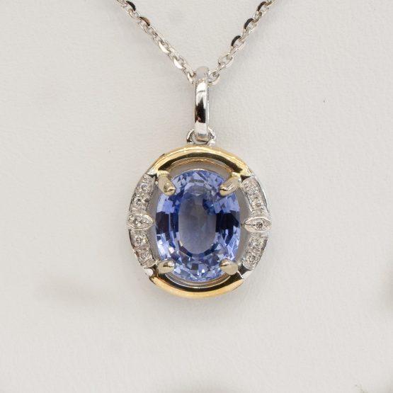 Sapphire diamonds pendant 18k 1982239
