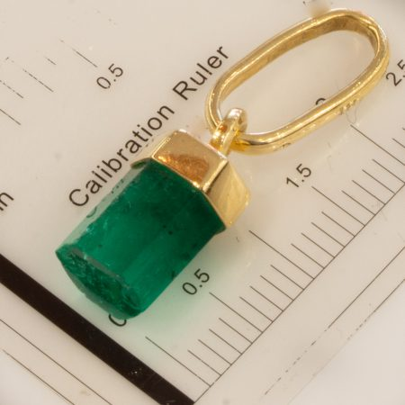 Natural Rough Colombian Emerald Pendant in 18K Yellow Gold