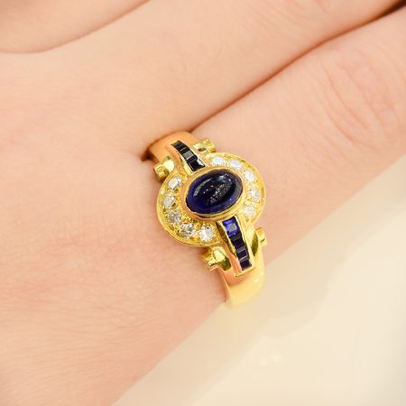 Sapphire and Diamond Dress Ring 18K Gold