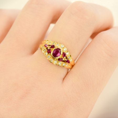 SOLD! Ruby and Diamond Dress Ring 18ct Yellow Gold