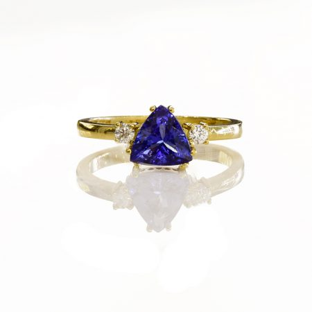 Solitaire Tanzanite and Diamond Ring