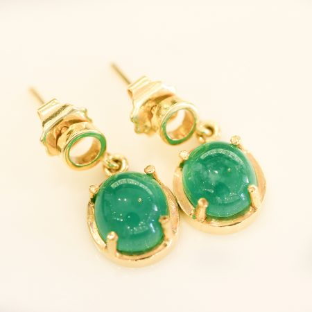4.30ct Colombian Emerald Cabochon Dangle Earrings in 18K Gold
