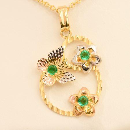 Colombian Emerald Pendant 18K Multi-Tone Gold