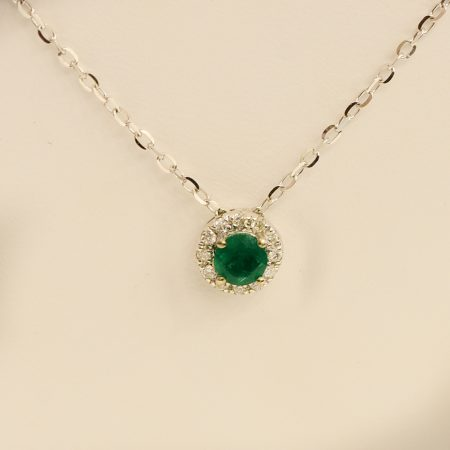 Colombian Emerald Diamond Pendant Necklace 18K White Gold