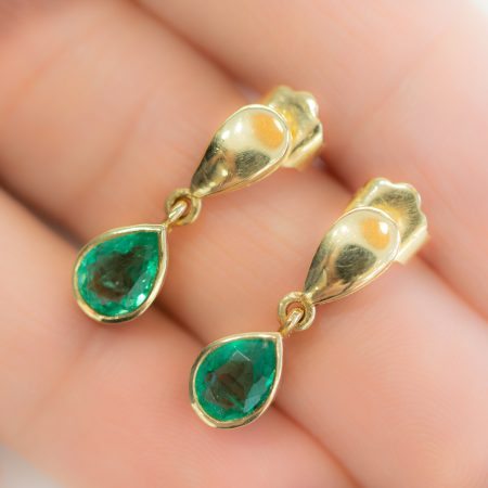 Pear Cut Colombian Emerald Dangling Earrings 18K Yellow Gold