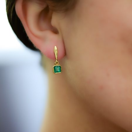Colombian Emerald Drop Earrings in 18K Yellow Gold