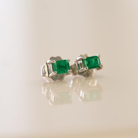 Colombian Emerald Stud Earrings 18K White Gold