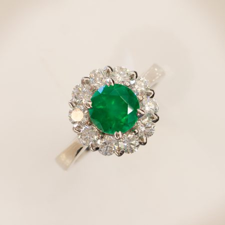 Colombian Emerald and Diamond Ring Floral Halo Statement Ring 18ct Gold