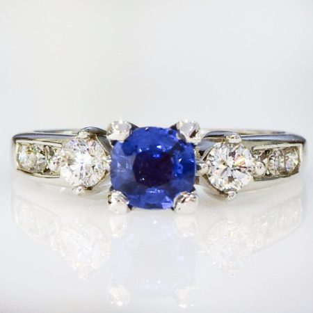 Ceylon Sapphire Three Stone Engagement Ring 14k White Gold