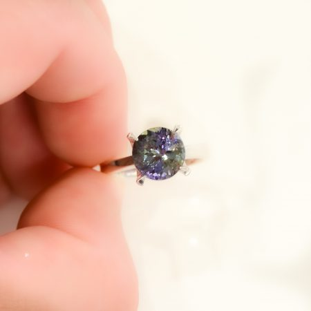 Teal Tanzanite Solitaire Ring 18K White Gold