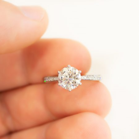 2Ct Moissanite Engagement Ring 9K White Gold