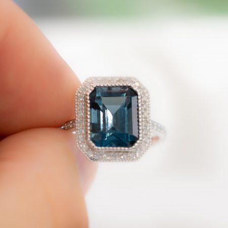 London Blue Topaz Diamond Halo Ring 18K Gold