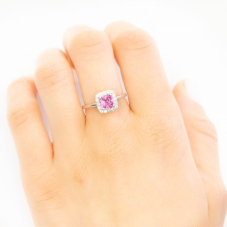 Pink Sapphire Halo Ring in 18K Gold