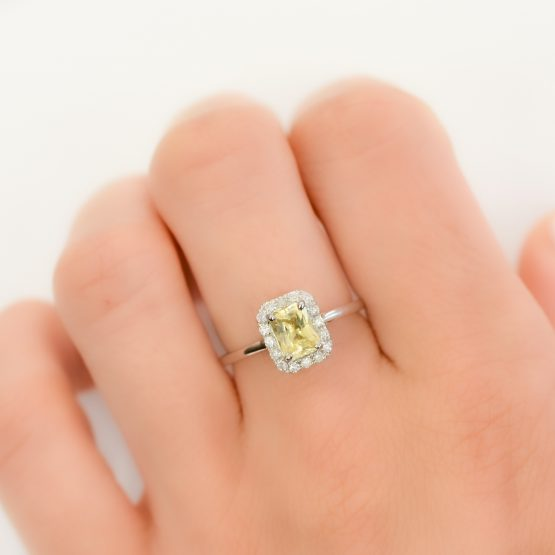 unheated yellow sapphire engagement ring - 1982255