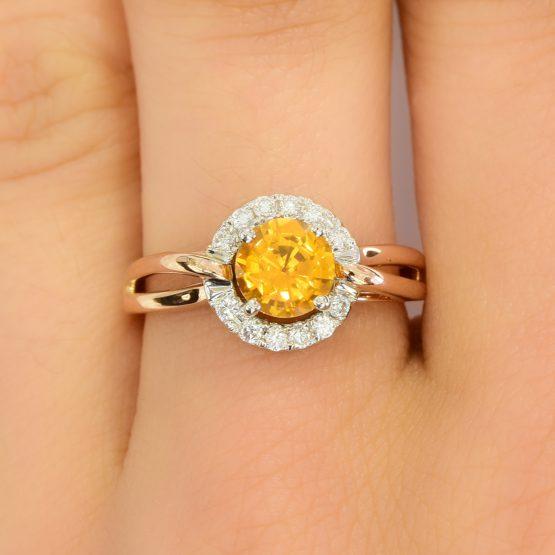 yellow sapphire diamond ring - 1982260