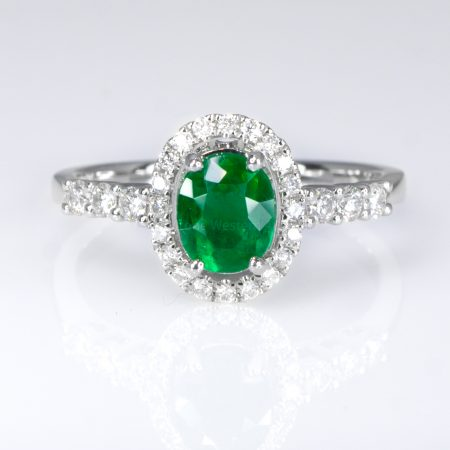 Fine Quality Colombian Emerald Halo Ring in 18K Gold