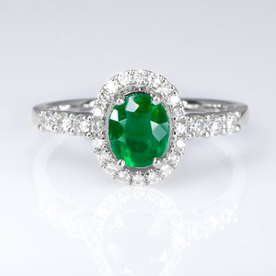 Fine Quality Colombian Emerald Halo Ring in 18K Gold - 1982139-10