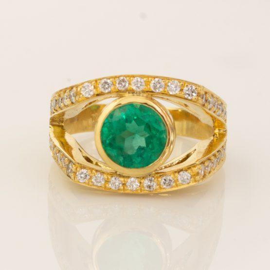 emerald diamond statement ring 18ct gold 1982140