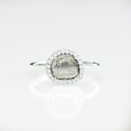 0.41Carats Diamond Slice Halo Ring 18K Gold