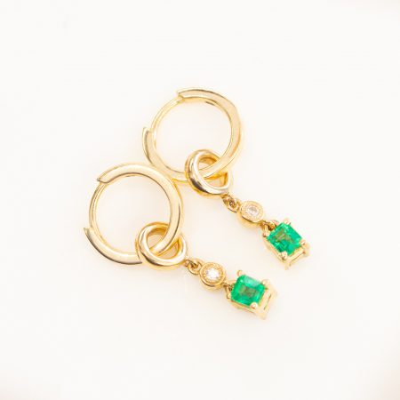 Colombian Emeralds Drop Hoop Earrings 18K Wear 2 Ways