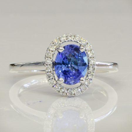 1.51ct Ceylon Sapphire Diamond Halo Ring - Cornflower Blue Sapphire